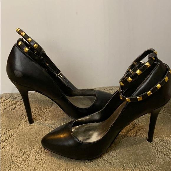 Black just fab strappy heels